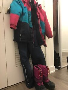 Jacket, snow pants and shoes