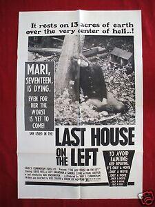 THE LAST HOUSE ON THE LEFT 1972 ORIGINAL MOVIE POSTER 1SH - The Last Halloween Movie