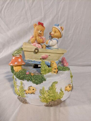 Vintage Glama Teddy Bear Row Boat Animated Music Box  - It