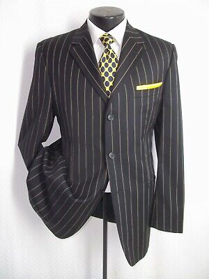 Versace Classic Black Striped 2 Buttons Side Vents Wool Jacket Coat 40 R