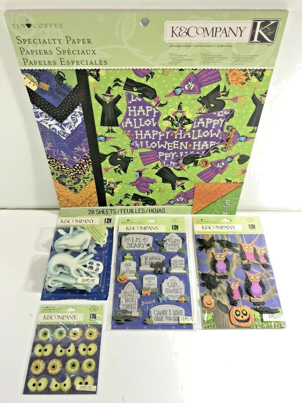 K Company Tim Coffey Halloween LOT Dimensional Stickers Paper Pad Owl NEW HTF - $34.95