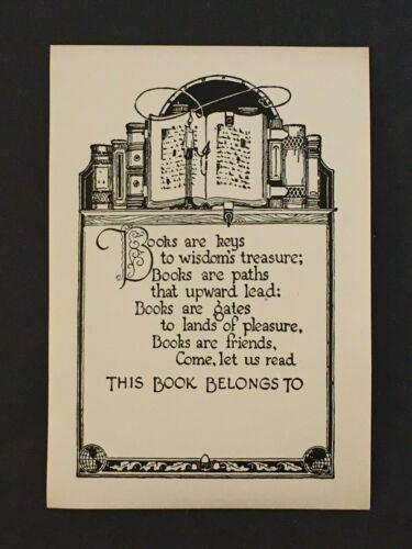 Vintage Antique Poem Bookplate 1930s 40s Gummed Ex Libris