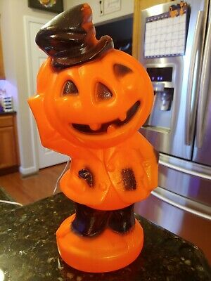 "Vtg Halloween Empire Company Pumpkin Man Blow Mold Scarecrow 14"" Tall Works HTF"