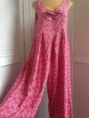 True Vintage 70s 80s Summer Jumpsuit Playsuit Dress Red Flowers Midi Wide Leg 12