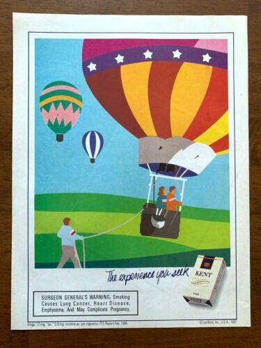 1987 Kent Cigarettes Balloons Vintage Print Ad/Poster Pop Art Man Cave Decor
