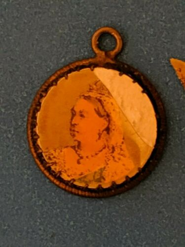 Antique Picture Charm of Queen Victoria hand made poss on Canada cent coin