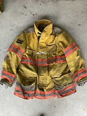 Firefighter Janesville Lion Apparel Turnout Coat 44x32 Inch 2005 Orange Trim