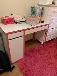 Childrens girls desk IKEA Micke Pink and White Good Condition