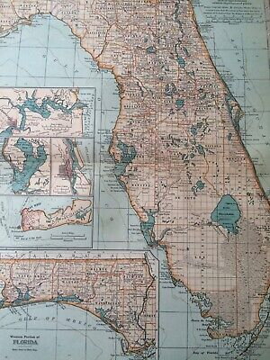 1903 Florida Original Antique Map United States Key West State Map Vintage