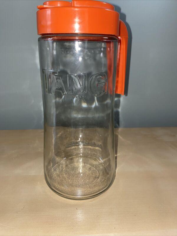 Vintage TANG Anchor Hocking Clear Glass 1 Qt Orange Juice Pitcher Orange Retro