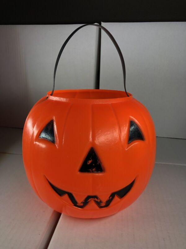 Vintage Halloween Blow Mold Pumpkin Candy Pail Bucket Carolina Enterprises 1980