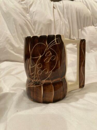 """Purinton Pottery Beer Mug, Brown Intaglio, 5"""" tall"""