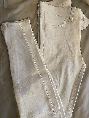 j brand 100% French Stretch Lamb Leather Off-white Zipper Hem Size 24
