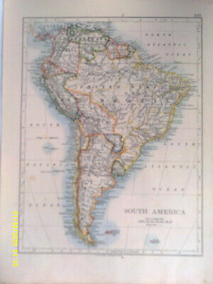 Double-sided Antique Map. SOUTH AMERICA (Political & Physical). W & A K Johnston