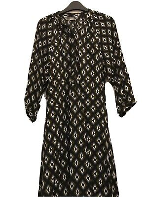ZARA KHAKI GEOMETRIC PRINT LONG DRESS WITH FRONT BUTTONS SIZE S NEW RRP£50