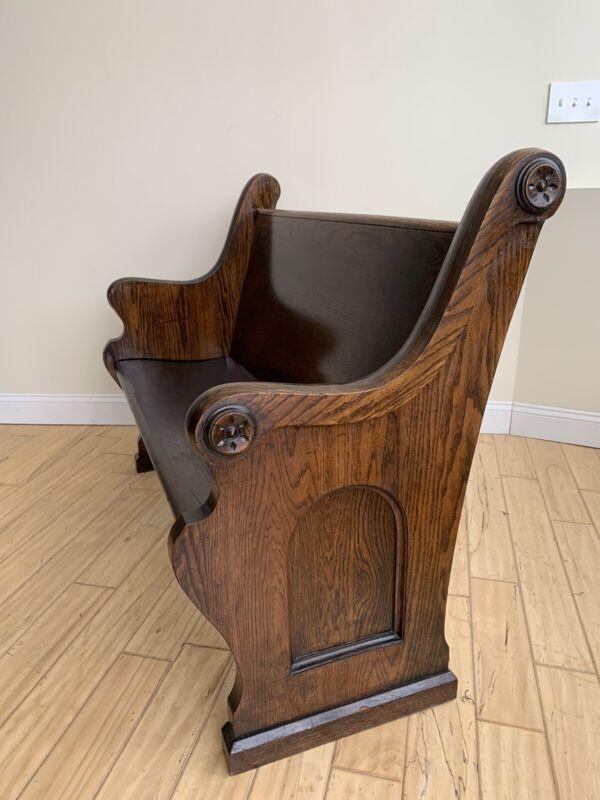 "Wonderful Antique Dark Oak Arched Paneled Ends 53"" Church Pew 1900"