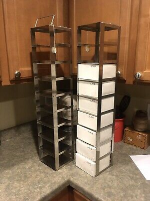 Two Vintage Stainless Sample Storage Racks