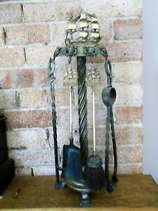Fireplace Tool Set Vintage Brass HMS Victory Ship Dee Why Manly Area Preview