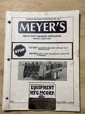 Meyers 2400 2425 Manure Spreader Operators And Parts Manual