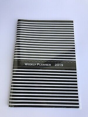 2019 Dated Day Planner Calendar Appointment Book Weekly 5x8 Teal Stripes Design