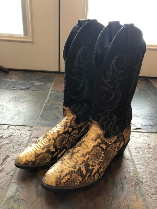 Mens, , Snake, Skin, Leather, Western, Cowboy, Boots, Mens, 8, D, EUC