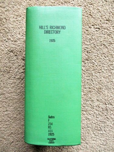 "1925 Original RICHMOND, VIRGINIA, CITY DIRECTORY - ""COLOREDS"" marked with a C"