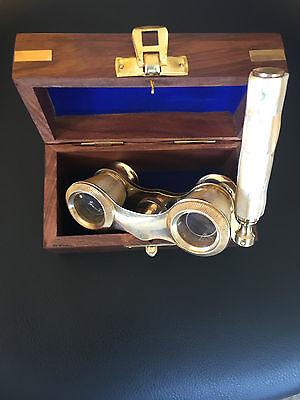 Maritim Nautica Opernglas Messing mit Perlmuttgriff Fernglas Vintage