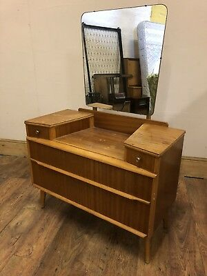 Nice Shaped Mid Century Mirrored 4 Drawer Dressing Table Poss G Plan