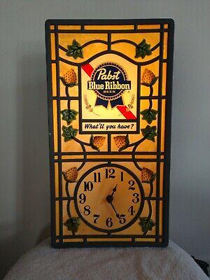 Vintage Pabst Blue Ribbon Beer Lighted Clock Bar Man Cave