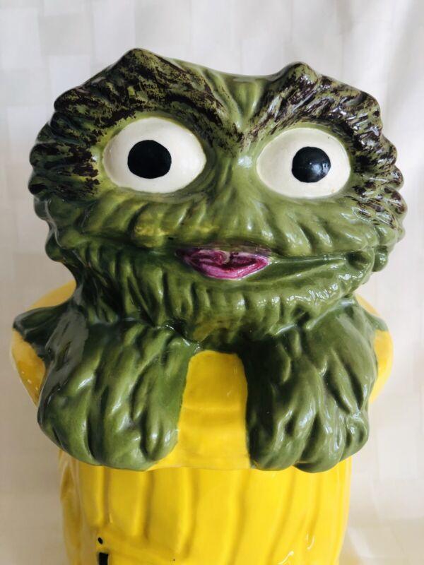 Vintage Handmade Signed 1970's Unique Oscar The Grouch Cookie Jar Sesame Street