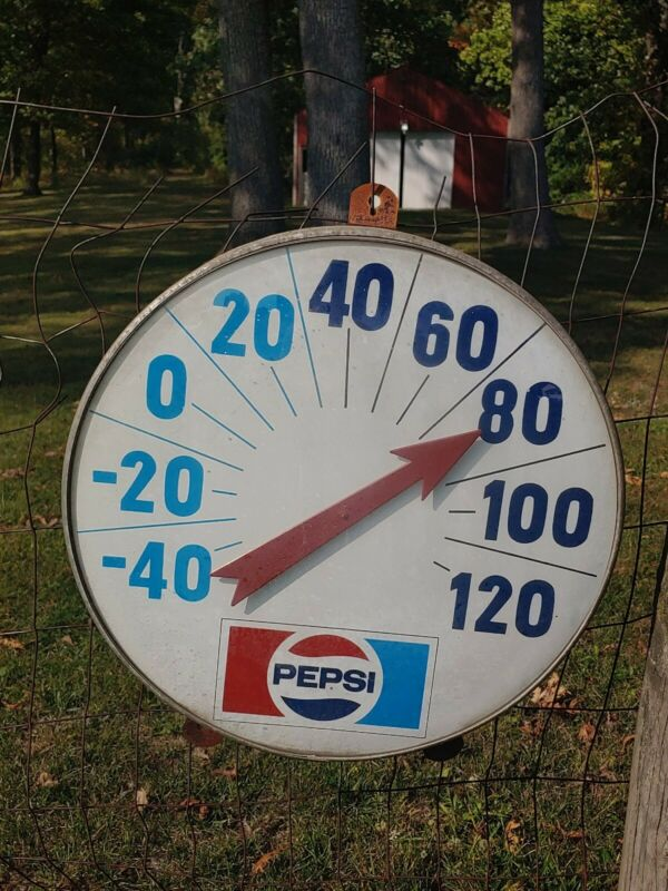 "Vintage Large Pepsi Cola Thermometer. 18"" diameter"