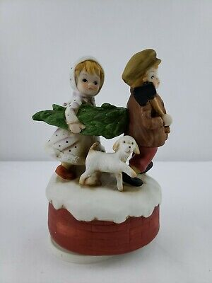 Vintage Music Box Brother Sister Puppy Kid Holiday Noel -Plays
