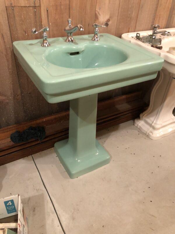 Vintage Green Pedestal Sink
