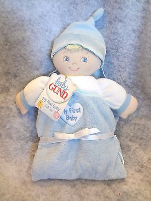 Baby Gund Blue Plush Baby Boy MY FIRST BABY Security Blanket 58175 NEW w/ TAGS