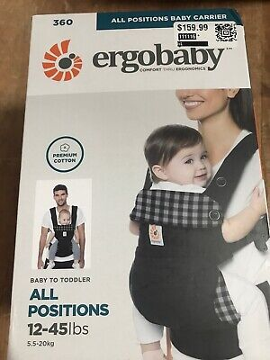 Ergobaby Carrier, 360 All Carry Positions Baby Carrier, BC360GING From 12-45 Lbs
