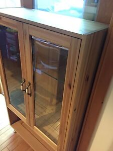 Wooden glass display cabinet - customized IKEA