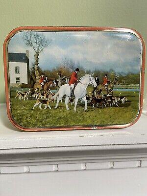 Vintage 1950s Edward Sharp & Sons Ltd Toffee Candy Tin Fox Hunting Horses Englan