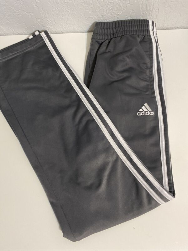 Youth ADIDAS SOCCER jogger Athletic Pants SZ L (14-16) Gray/White