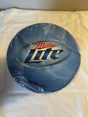 """Miller Lite Coasters Sleeve of 100 Round 4"""" Cardboard Double Side ~ NEW"""