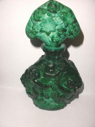 Vintage Czech Bohemian malachite art glass perfume cherubs Desna