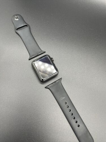Apple Watch Series 3 Stainless Steel Case Space Black - Hairline Cracked Screen - $91.00