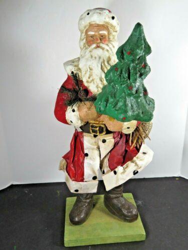 "13"" Vintage Old Santa Paper Mache Holding Christmas Tree Decoration Figure A9087"