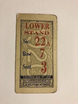 1920 Army Vs Navy Football Ticket Stub West Point Annapolis Polo Grounds Ny