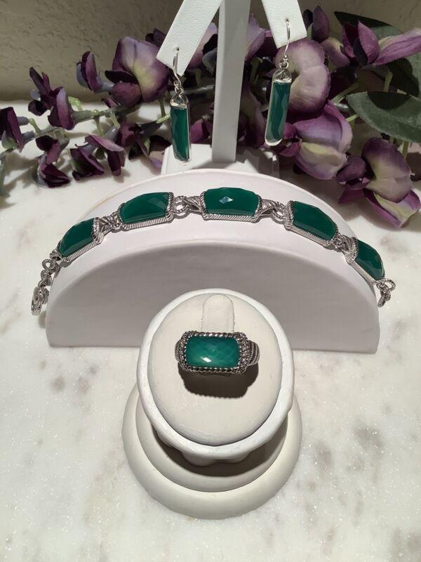 """Judith Ripka 925 Silver Set of Green Chalcedony Bracelet 7"""",Earrings, & Ring S 6"""