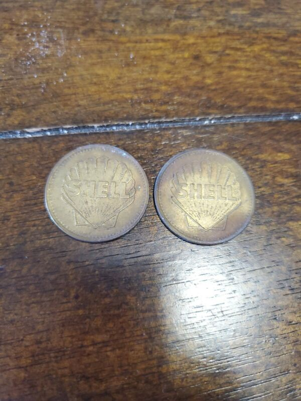 Lot Of 2 Vintage Shell Carwash Tokens