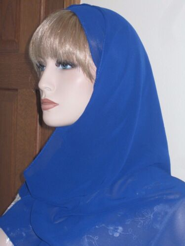 EC small bright blue chiffon rectangle scarf hijab jilbab headcover Islam abaya