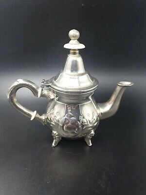 """White Metal Middle Eastern Small Tea Pot Height 6"""""""