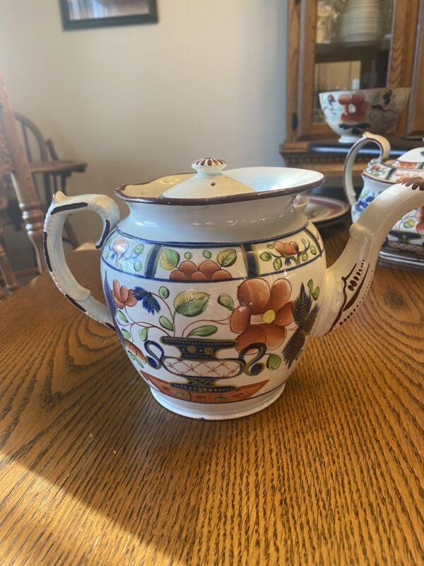 Gaudy Dutch Urn Pattern Teapot Early 19th Century