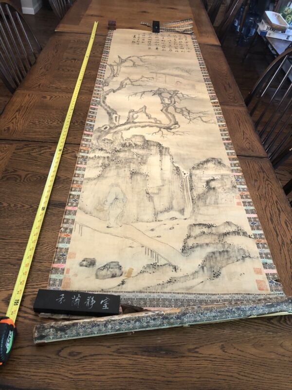 Antique Large Chinese Painting On Silk Painting Roll With Collectors Seals