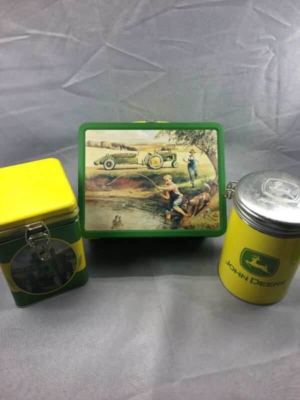 Vintage JOHN DEERE Kids TURTLE TROUBLE Tin Lunchbox And Two Additional Tins